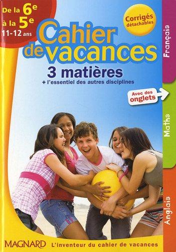 9782210748958: Cahier de vacances 3 matières de la 6e à la 5e : 11-12 ans