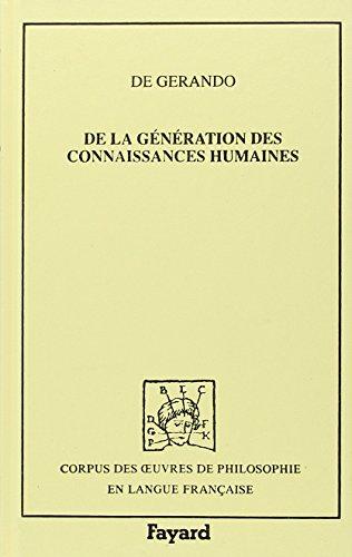9782213025759: De la génération des connaissances humaines