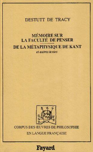 9782213028965: Mémoire sur la faculté de penser. De la métaphysique de Kant et autres textes