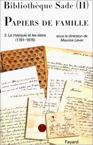 9782213031057: Bibliothèque Sade. Papiers de famille