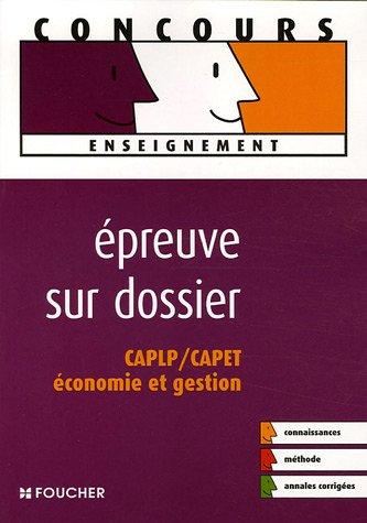 9782216101184: Epreuve sur dossier CAPLP/CAPET Economie et gestion