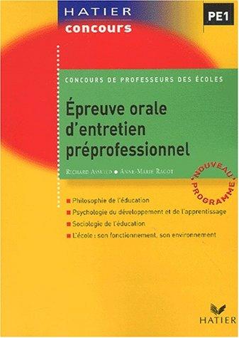 9782218738265: Epreuve orale d'entretien préprofessionnel