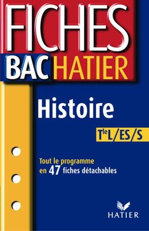 9782218743160: Fiches Bac Hatier : Histoire, terminale L, ES, S