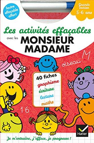 9782218971310: Les activités effaçables avec les Monsieur Madame - Grande Section