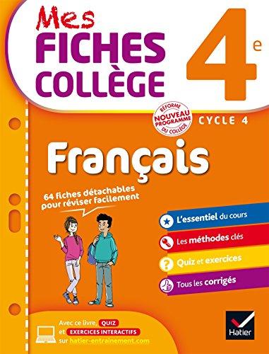 9782218997846: Mes fiches collège Français 4e: 40 fiches de révision et 120 exercices corrigés
