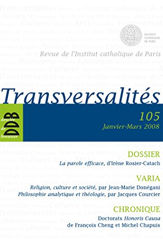 Transversalités (French Edition) (2220059073) by Institut catholique de Paris
