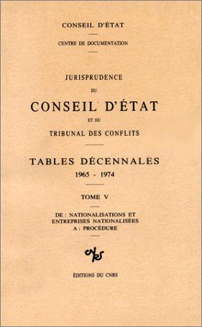 Jurisprudence du Conseil d'Etat, numéro 5 : Tables décennales, 1965/1974. De «nationalisations ...