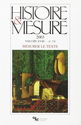 Histoire et Mesure 18/3-4 (French Edition): Collectif