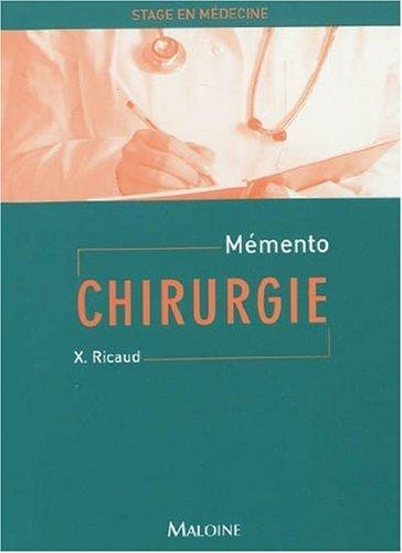 MEMENTO STAGE MEDECINE CHIRURGIE: RICAUD
