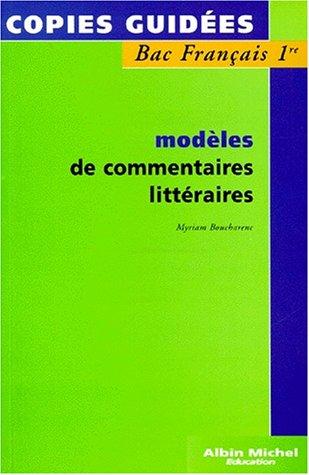 9782226080264: Modèles de commentaires littéraires