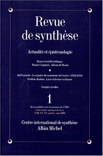 Revue de Synthèse, n°1 Janvier-Mars 1998 - Actualités épisté...