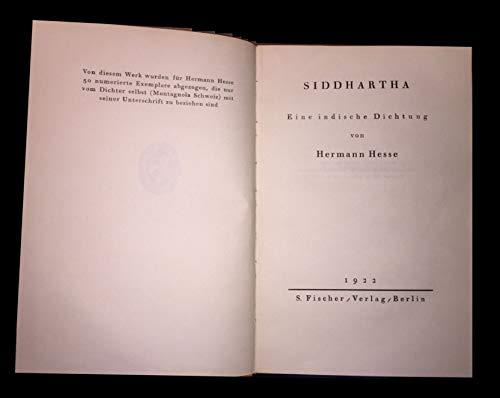 Siddhartha : Eine indische Dichtung Hermann Hesse