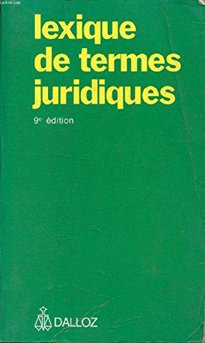 Lexique DES Termes Juridiques: Guillen