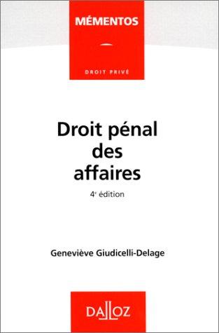9782247033409: Droit penal des affaires (Mementos Dalloz. Droit prive) (French Edition)