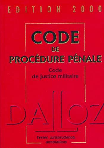 9782247034123: CODE DE PROCEDURE PENALE. Code de justice militaire, Edition 2000