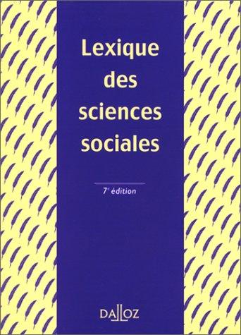 Lexique des sciences sociales, 7e éditionb: Grawitz, Madeleine