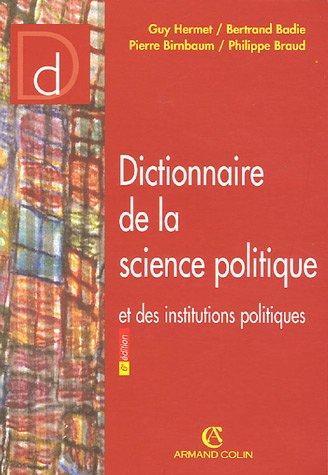 9782247051724: Dictionnaire de la science politique et des institutions politiques