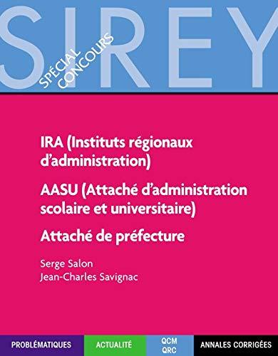 9782247052820: Ira (instituts reg. d'administration) aasu (attache d'adm. scolaire et univ.) attache de prefecture