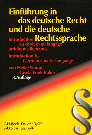 9782247064427: introduction au droit et au langage juridique allemands. einfuhrung in das deutsche recht... 3e edit