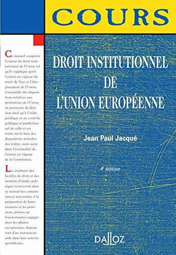 9782247069897: Droit institutionnel de l'Union européenne