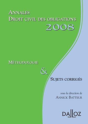 9782247075836: Droit civil des obligations : M�thodologie et Sujets corrig�s (Annales du Droit)
