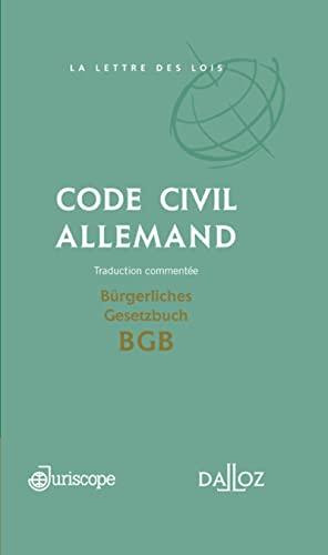 9782247090037: Code civil allemand / Bürgerliches Gesetzbuch BGB . Traduction commentée - 1ère édition: Coédition Juriscope / Dalloz (Hors collection)