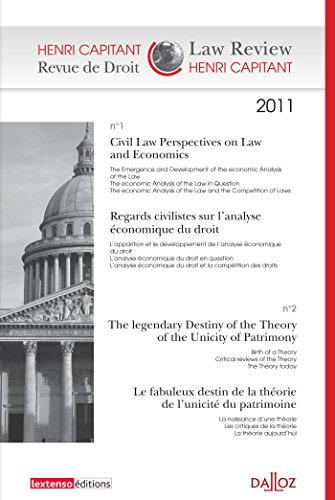 9782247107858: Revue de Droit Henri Capitant, N° 1-2/2011 : Regards civilistes sur l'analyse économique du droit ; Le fabuleux destin de la théorie de l'unicité du patrimoine