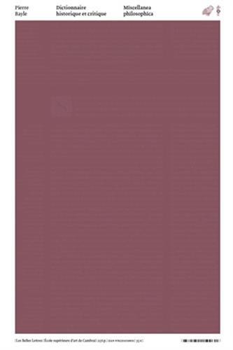 9782251150031: Dictionnaire historique et critique: Miscellanea philosophica