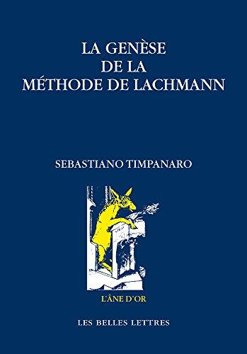 GENESE DE LA METHODE DE LACHMANN -LA-: TIMPANARO SEBASTIANO