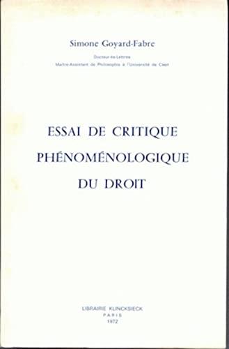 9782252013021: Essai de critique phénoménologique du droit (Hors Collection Klincksieck) (French Edition)