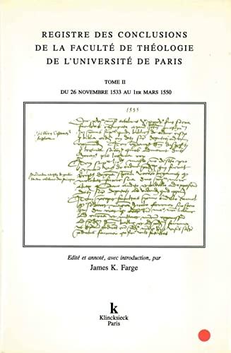 9782252029343: Registre des conclusions de la Faculté de théologie de l'Université de Paris