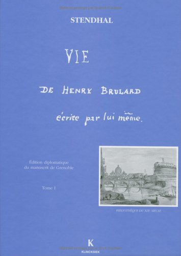 9782252030806: Vie de henry brulard t1 (French Edition)