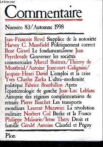 COMMENTAIRE NUMERO 83 VOLUME 21 AUTOMNE 1998: Collectif; Girard, René;