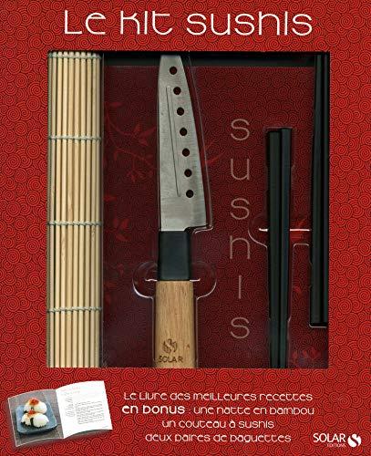 9782263052668: Le kit sushis : Livre de recettes + une natte en bambou, un couteau à sushis et deux paires de baguettes