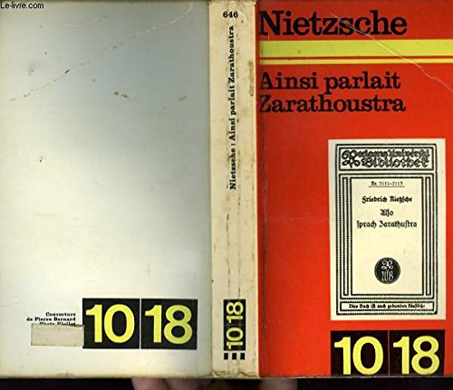 AINSI PARLAIT ZARATHOUSTRA: Friedrich Nietzsche