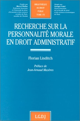 Recherche sur la personnalité morale en droit administratif: Linditch