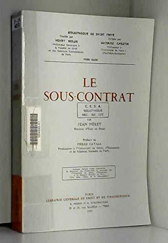 9782275011721: Le sous-contrat