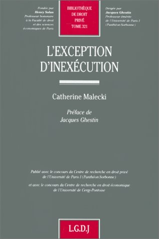 9782275018386: L'exception d'inexécution