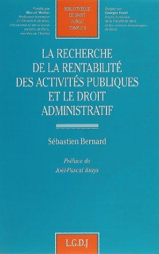 Recherche de la rentabilite des activité: Bernard