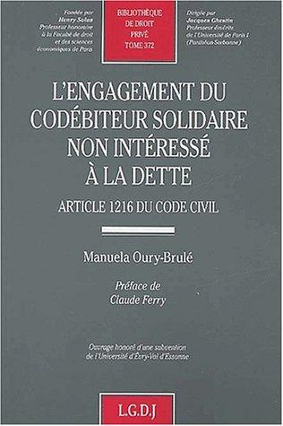 9782275022567: L'engagement du coediteur solidaire non interesse a la dette (French Edition)