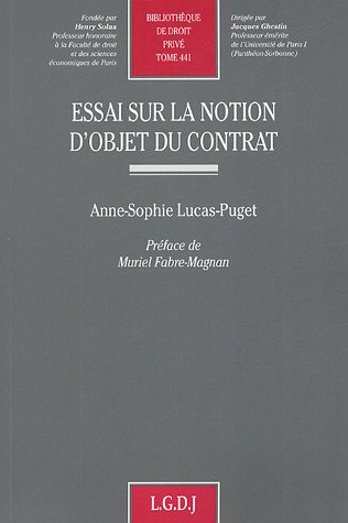 9782275026640: Essai sur la notion d'objet du contrat