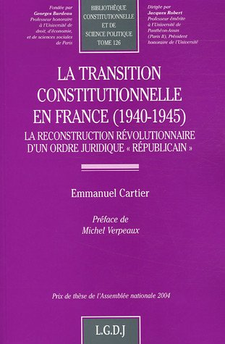 9782275026749: transition constitutionnelle en france (1940-1945)