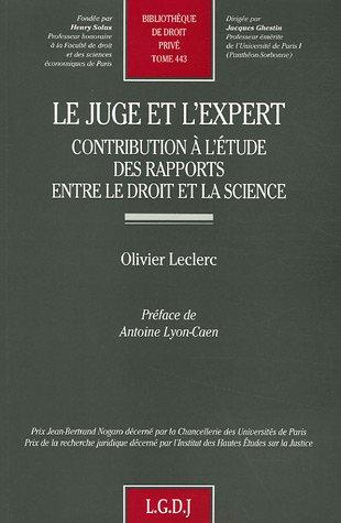 Le juge et l'expert (French Edition): LGDJ