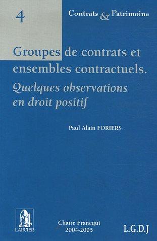 Groupes de contrats et ensembles contractuels Quelques: Foriers, Paul Alain