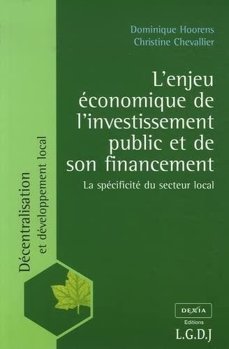 9782275027647: L'enjeu �conomique de l'investissement public et de son financement : La sp�cificit� du secteur local