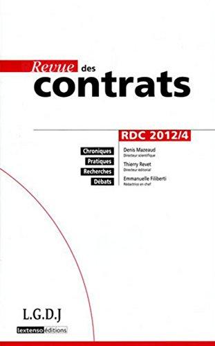 Revue des contrats rdc n 4-2012: LGDJ