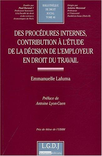 Des procédures internes, contribution à l'étude de la d&...