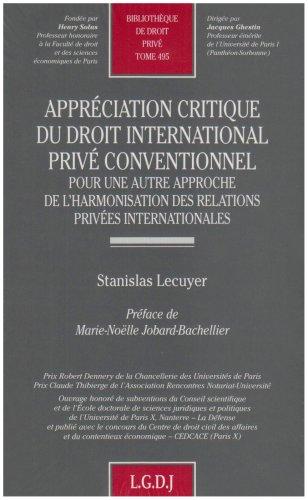 Appréciation critique du droit international privé conventionnel (French ...