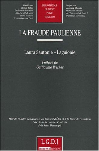 La fraude paulienne: Laura Sautonie-Laguionie