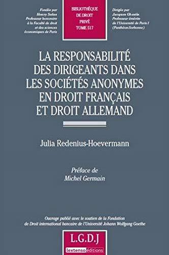 9782275035659: La responsabilité des dirigeants dans les sociétés anonymes en droit français et droit allemand